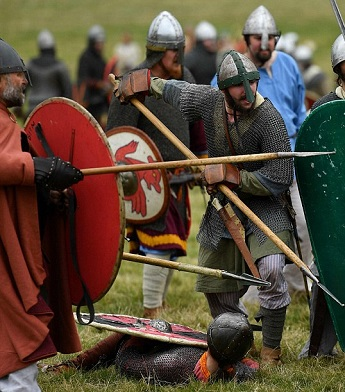 Viking battle re-enactment with spears