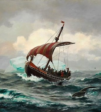 Viking ship in middle of ocean