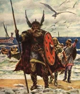 Viking warriors coming on shore