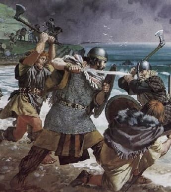 Viking battle scene with axes